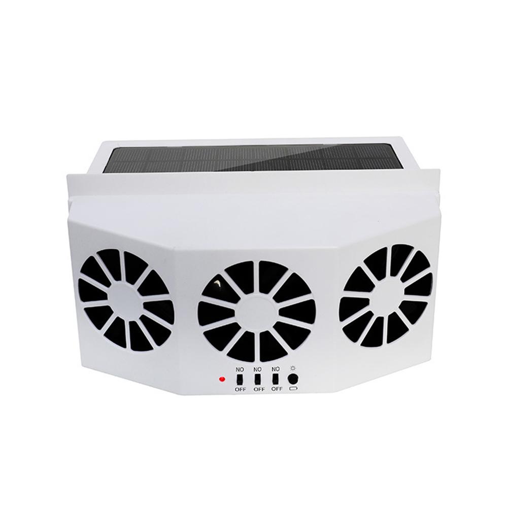 Car Ventilator 3 Cooler Fans Solar-powered Cooling Vent Exhaust Portable Safe Auto Fan white