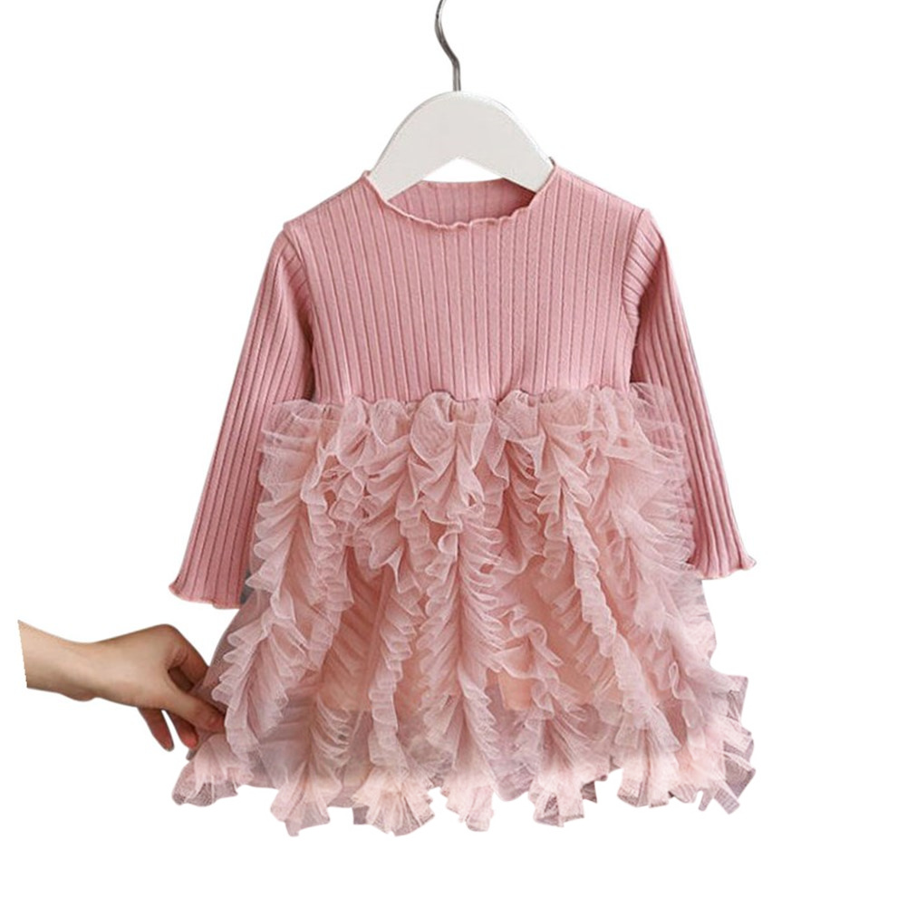 Girls Dress Knitted Long-sleeve Fluffy Yarn Cake Dress for 1-6 Years Old Kids pink_90cm