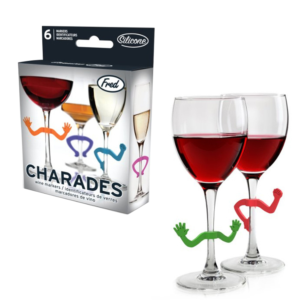 6pcs Silicone Wine Glass Identifier  Hand Dancing Shaped Cup Recognizer For Bar Party 6 colors random
