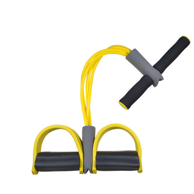 4 Tube Tension Trainer Sports Foot Expander Weight Loss Fitness Equipment Chest Pull Leg Latex Draw Rope Gymnastics Rope yellow_Four tubes