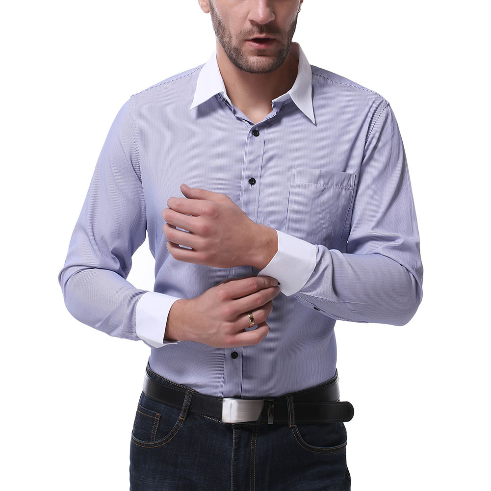 Men Casual Long Sleeve Shirt Autumn Lapel Adults Cotton Tops for Business Blue_XL