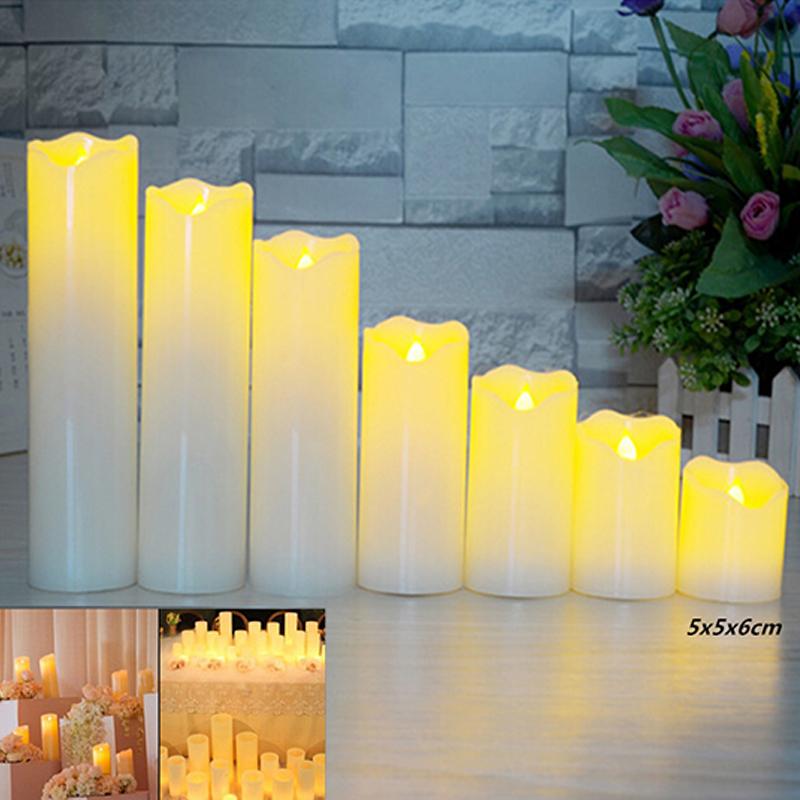 Slant Wave Top LED Electronic Simulate Candle Light Night Light Decoration Diameter 5*6cm