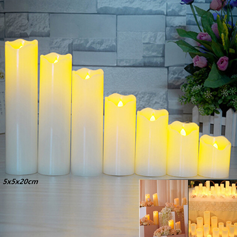 Slant Wave Top LED Electronic Simulate Candle Light Night Light Decoration Diameter 5* Height 20cm