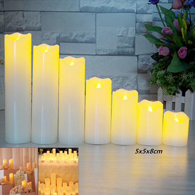 Slant Wave Top LED Electronic Simulate Candle Light Night Light Decoration Diameter 5*8cm