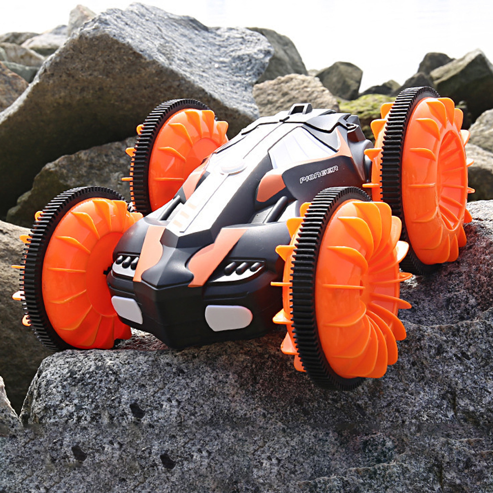 Children Water Land Amphibious Agents Waterproof Double Side Remote Control Stunt Car Toy for Kids Orange