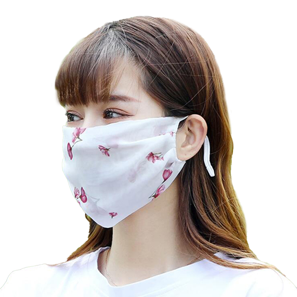 Fashionable Chiffon Printed Sunscreen Summer Breathable And Washable Dustproof Mask Red cherry blossoms on white_One size