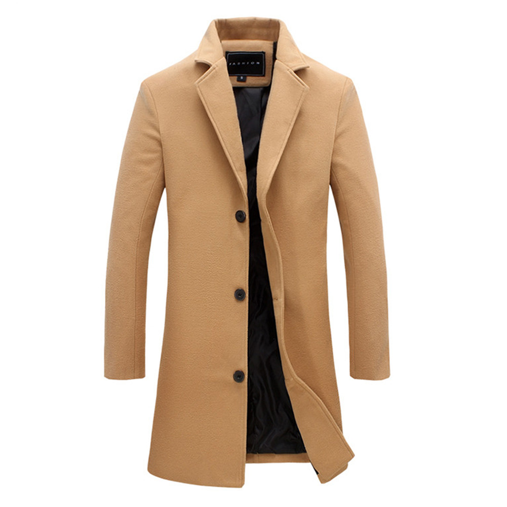 Fashion Winter Men's Solid Color Trench Coat Warm Long Jacket Single Breasted Overcoat khaki_L