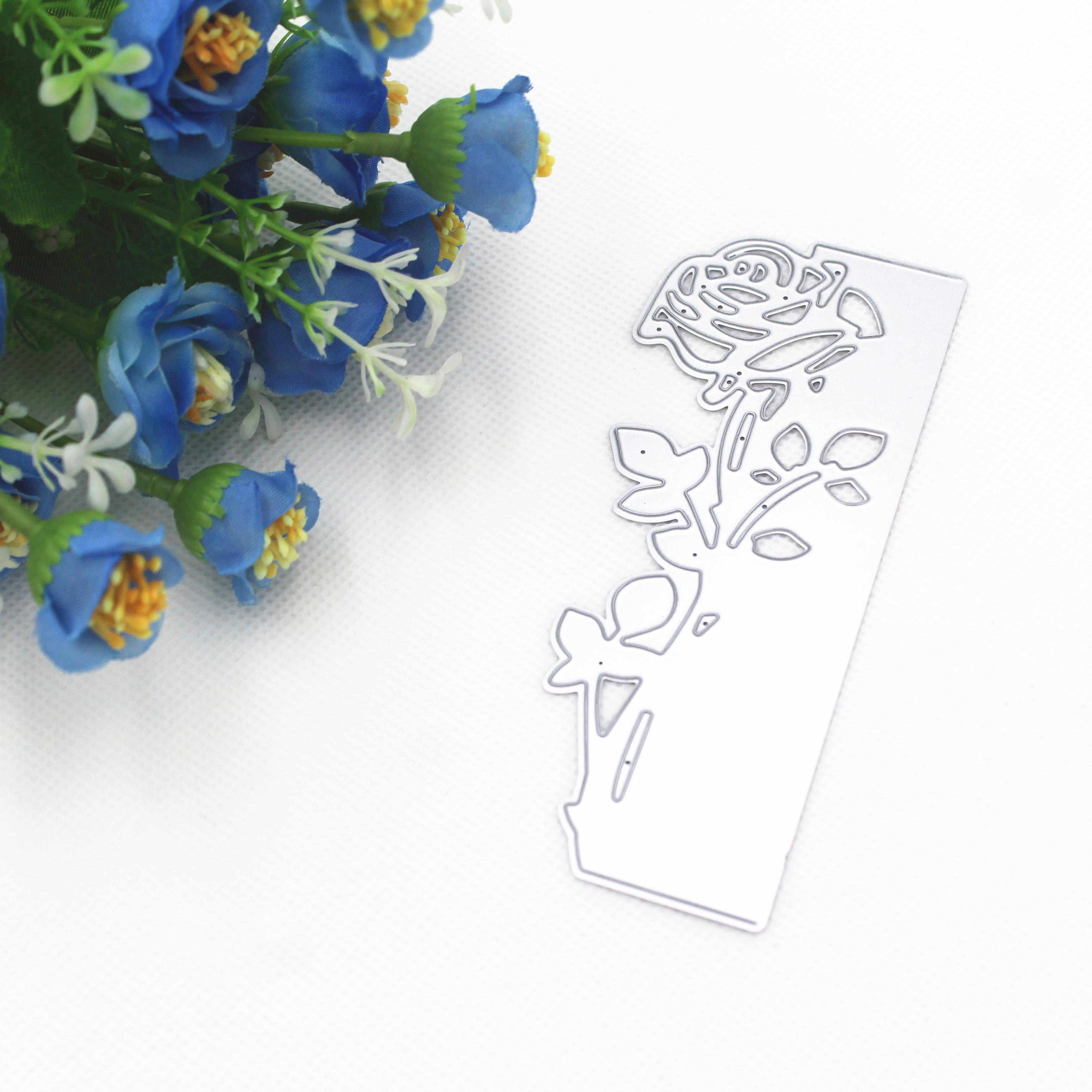 DIY Scrapbook Hollow Rose Embossed Carbon Steel Cut Die for Greeting Cards 49*118mm