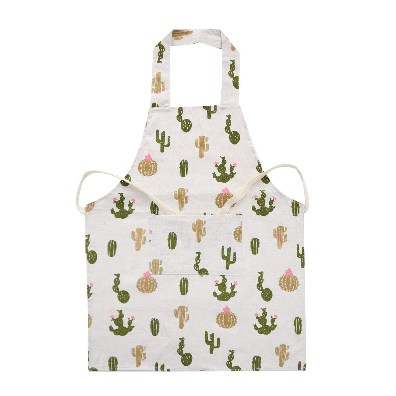 Women Kitchen Cotton Linen Antifouling Printing Apron for Cooking Prickly pear