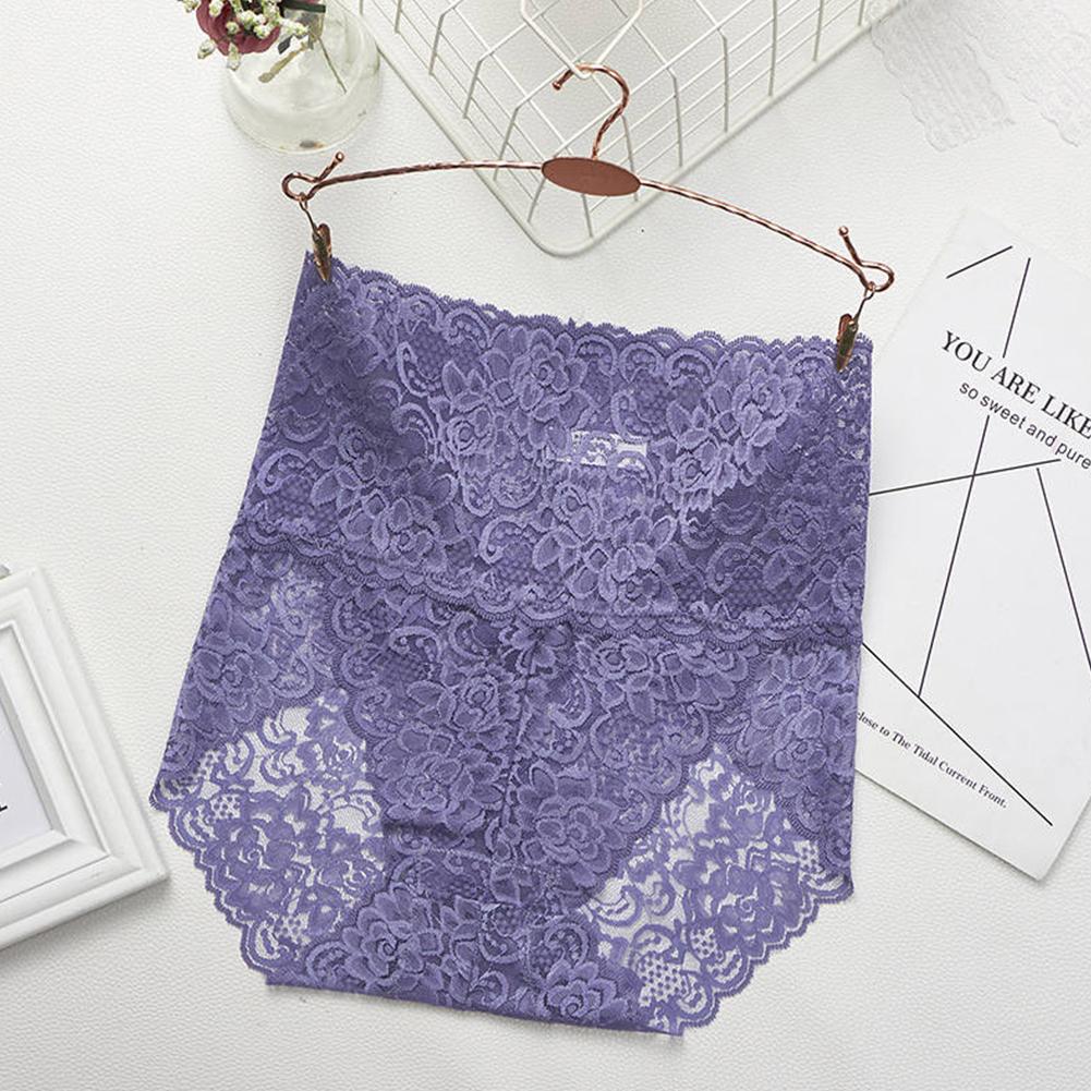 Women's Lingerie Sexy Lace Mesh Floral Seamless Plus Size High Waist Underpants blue_M