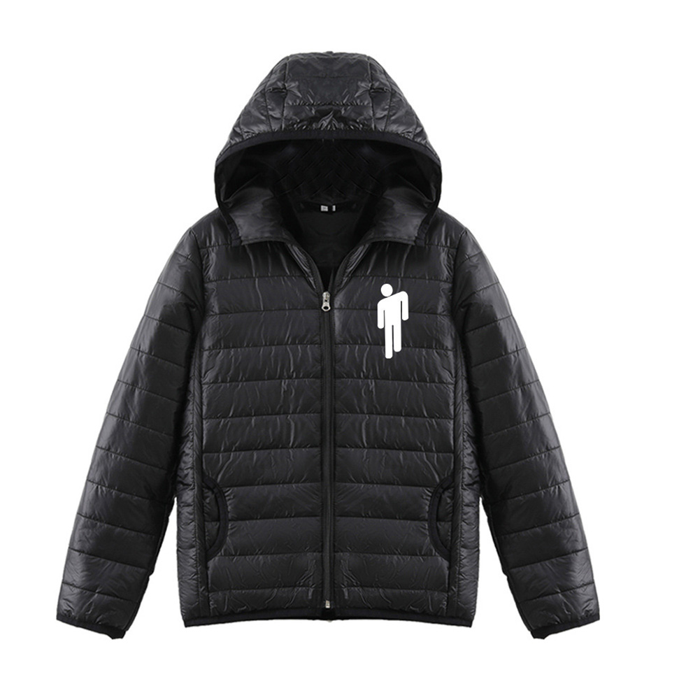Thicken Short Padded Down Jackets Hoodie Cardigan Top Zippered Cardigan for Man and Woman Black A_L