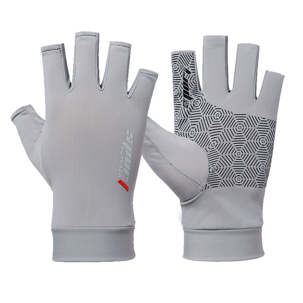 1 Pair Fishing Gloves Outdoor Fishing Protection Anti-slip Half Finger Sports Fish Equipment Half finger grey_One size