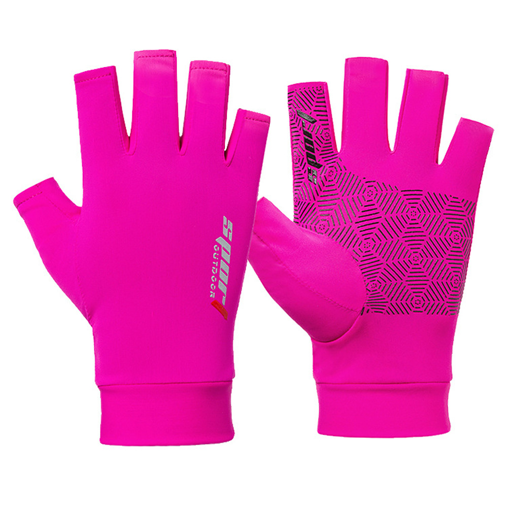 1 Pair Fishing Gloves Outdoor Fishing Protection Anti-slip Half Finger Sports Fish Equipment Half finger pink_One size