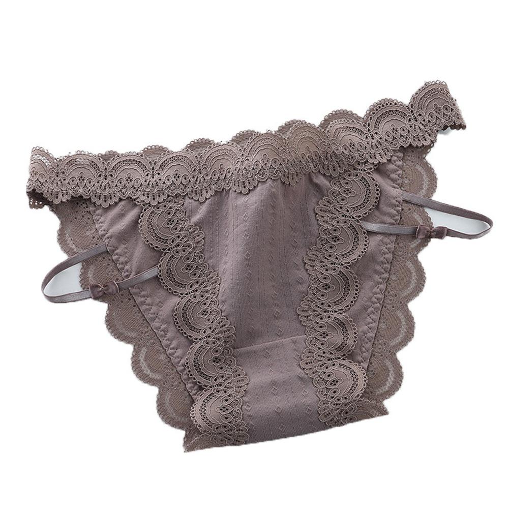 Women Sexy Briefs Lace Cotton Underwear Low Waist Panties Lady Lingerie Underpants Brown_One size