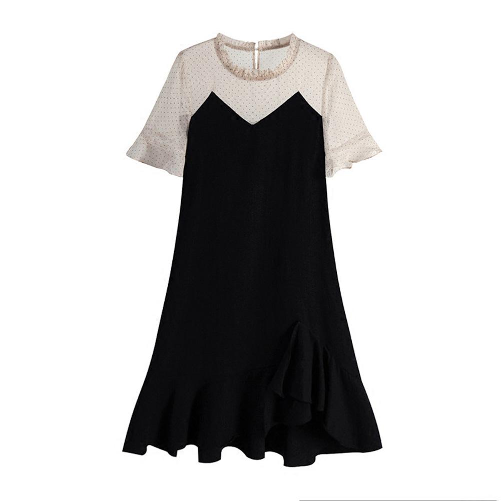 Maternity Dress Sweet Polka Dot Mermaid Dress Loose Pregnant Woman Clothes Photo Color_XXL