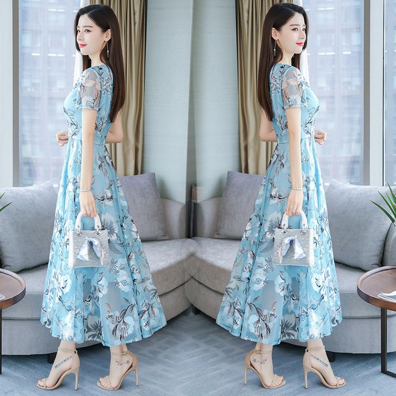 Women Summer Short Sleeve Flower Pattern Casual Long Dress Light blue_L