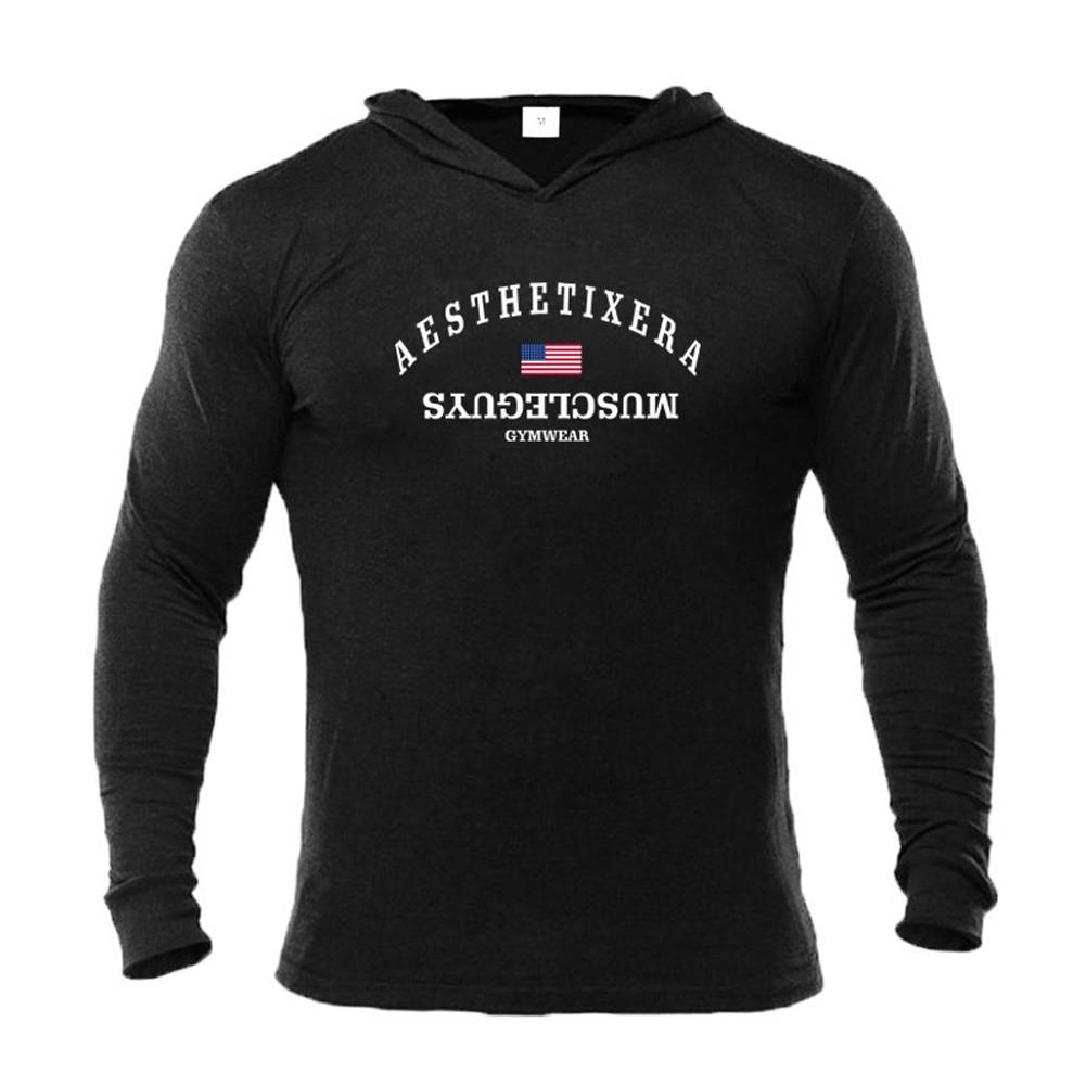 Male Hoodie with Letters Printed Long Sleeves Top Leisure Pullover Slim Sports Wear black_L