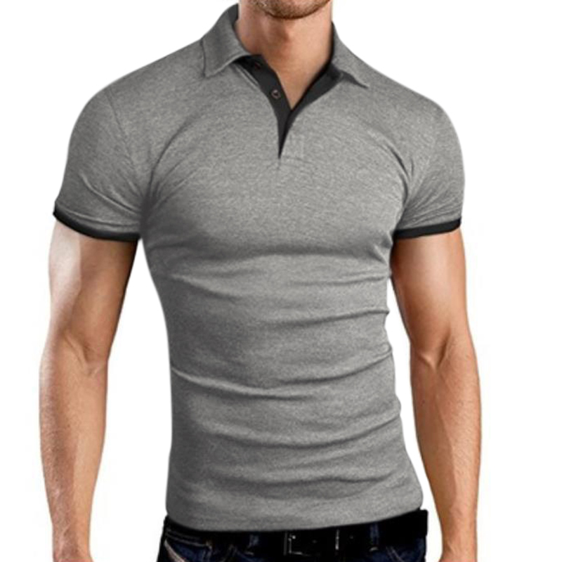 Men Classic Slim Shirt Short Sleeve Hit Color Casual Simple Tops  gray_XL