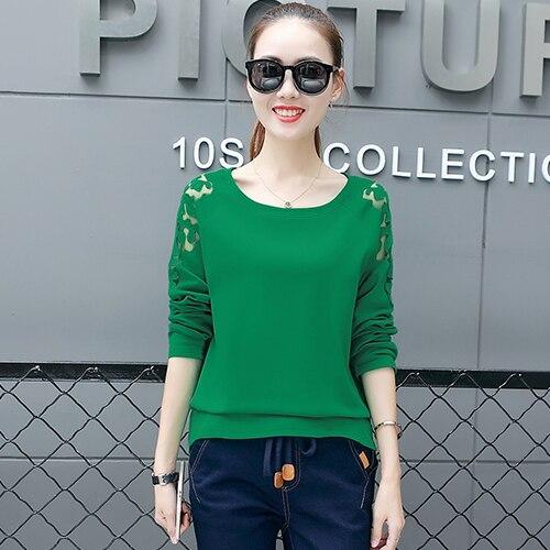 Fashion 2018 Women Tops Shirt Long Sleeve O-neck Women Blouses Loose Patchwork Lace Blosue Blusas Casual Plus Size Women Shirts