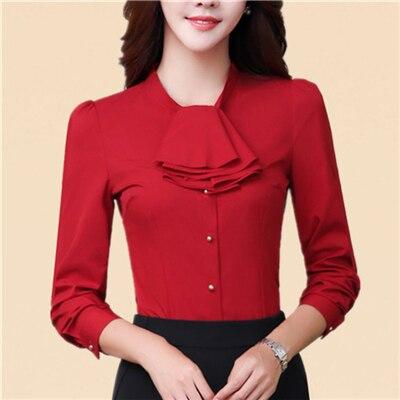2018 Spring fashion Sexy V-Neck shirt women OL Career temperament formal long sleeve chiffon blouse office ladies plus size tops