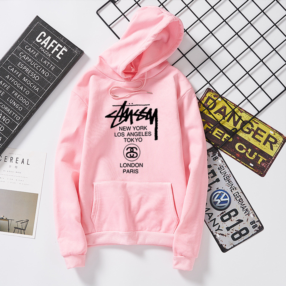 Men Women Couples Cool Stylish Letter Printing Long Sleeve Casual Sports Fleece Hooded Sweatshirts Pink_L