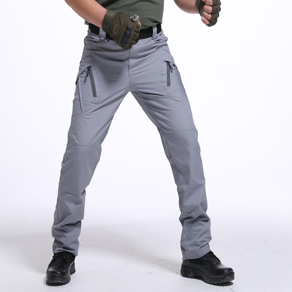 Men Wear-resistant Sport Zipper Trousers Casual Trousers Pants  Gray ix9 waterproof_XXL