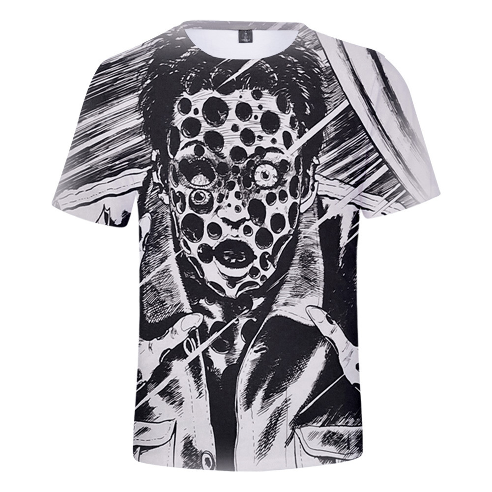 Short Sleeves 3D Pattern Printed Shirt Leisure Loose Pullover Top for Man and Woman Q style_XL