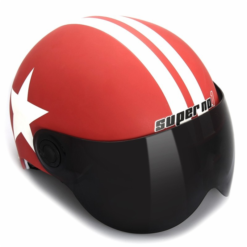 Motorcycle Helmet Half 3/4 with Retractable Drop Down Sun Visor Open Face Helmet Matte red