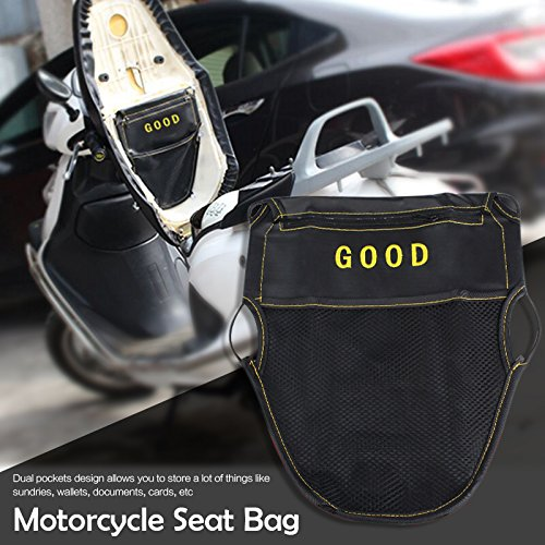 Motorcycle Scooter Seat Bag Scooter Under Seat Storage Pouch Bag Organizer PU Leather Storage Pouch black