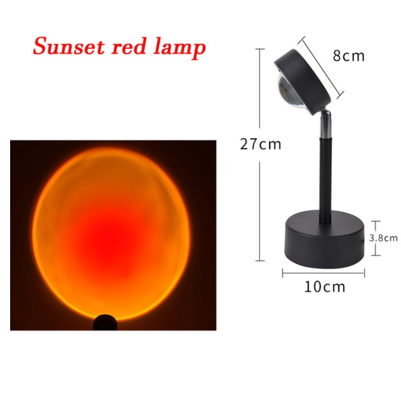 Usb Sunset Rainbow Red Projector Led Sun Projection Night Light For Bedroom Bar Coffee Store Wall Decoration Lighting Sunset red