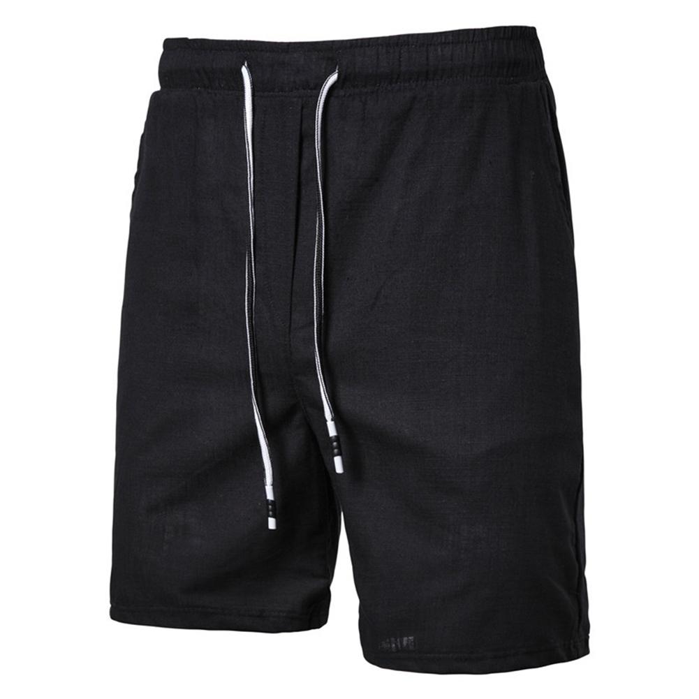 Men Beach Shorts Straight Tube Shape Flax Solid Color Shorts  black_3XL