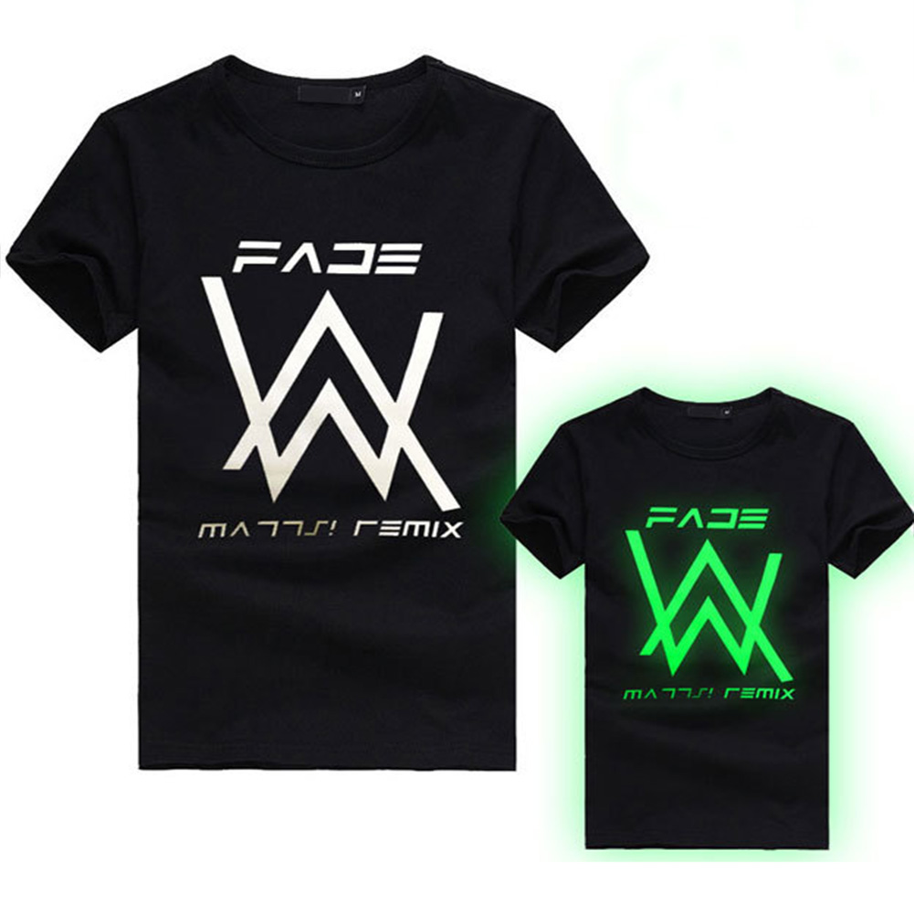 Unisex Fashion Night Light Printing Casual Cotton T-shirts Letter type_M