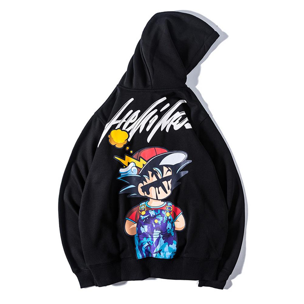 Man Fashion Cartoon Anime Doodle Loose Hooded Jacket Top Black_L