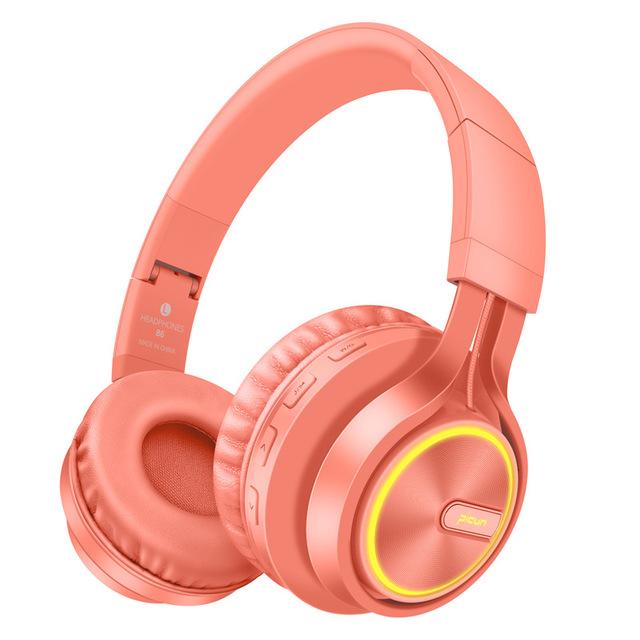 B6 Wireless Headphones Bluetooth 4.1Headphone Stereo Glowing Headset Earphone With Mic  Coral orange