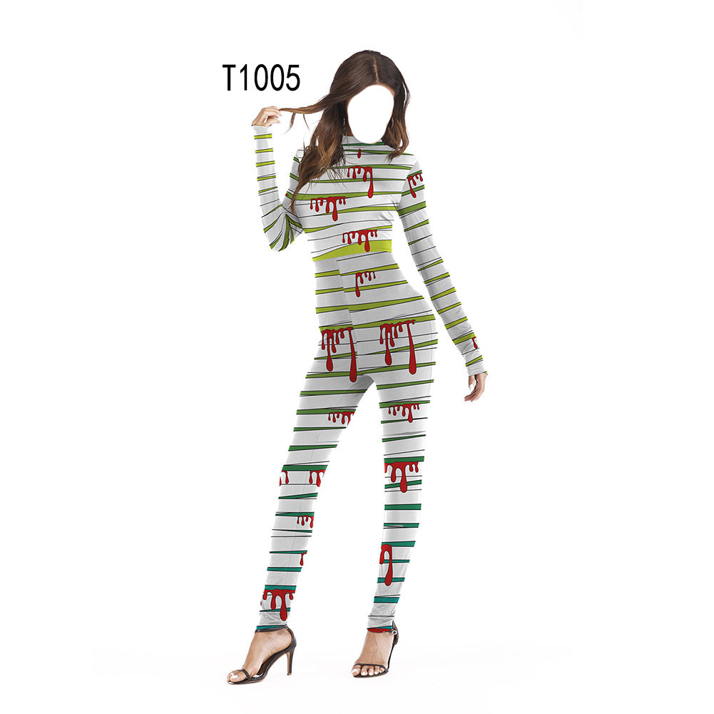 Female Slim Jumpsuits Long Sleeve Cosplay Custome for Halloween Party Festival  T1005_S/M