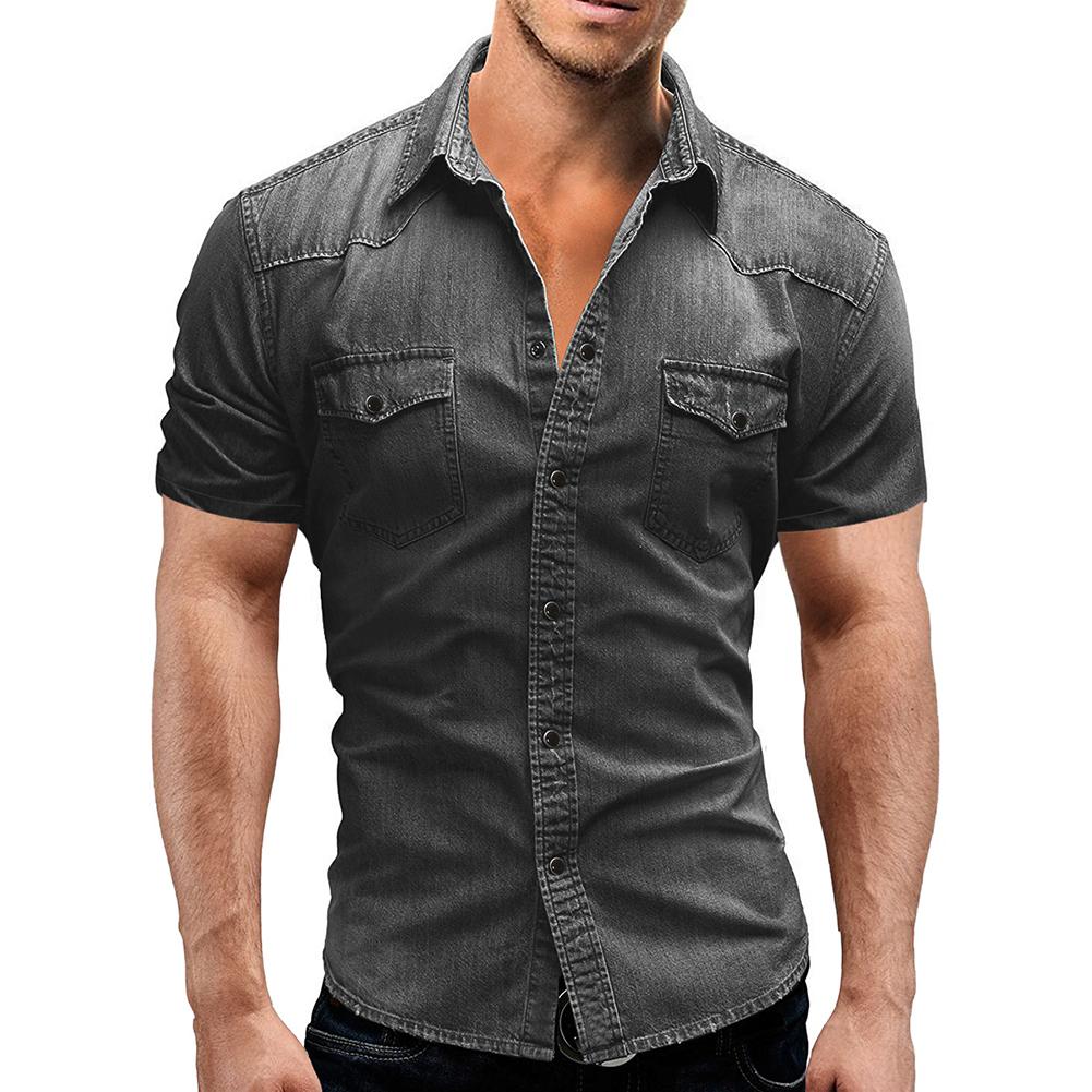 Men Summer Casual Denim Short Sleeves Front Buttons Shirt light grey_M