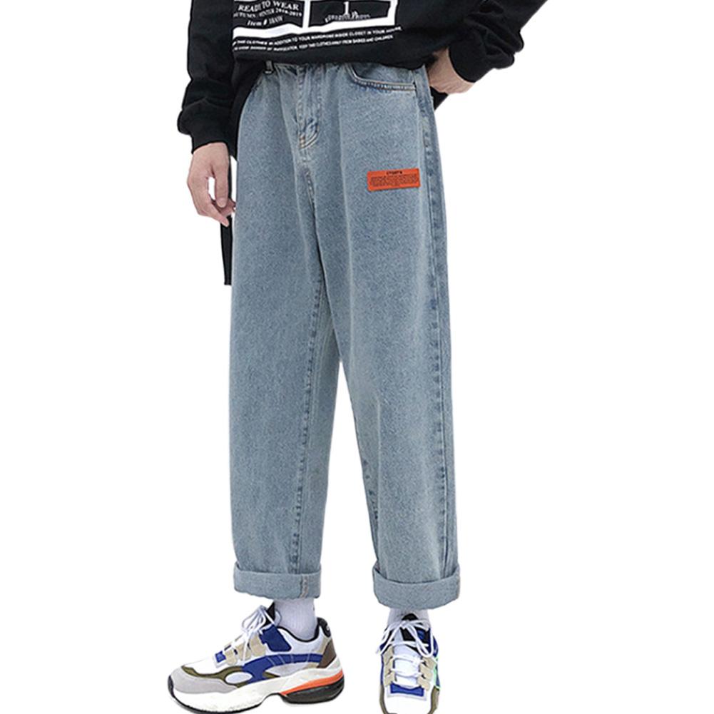 Men Jeans Denim Pants Label Decoration Straight Bottom Loose Casual Male Trousers  Blue_L
