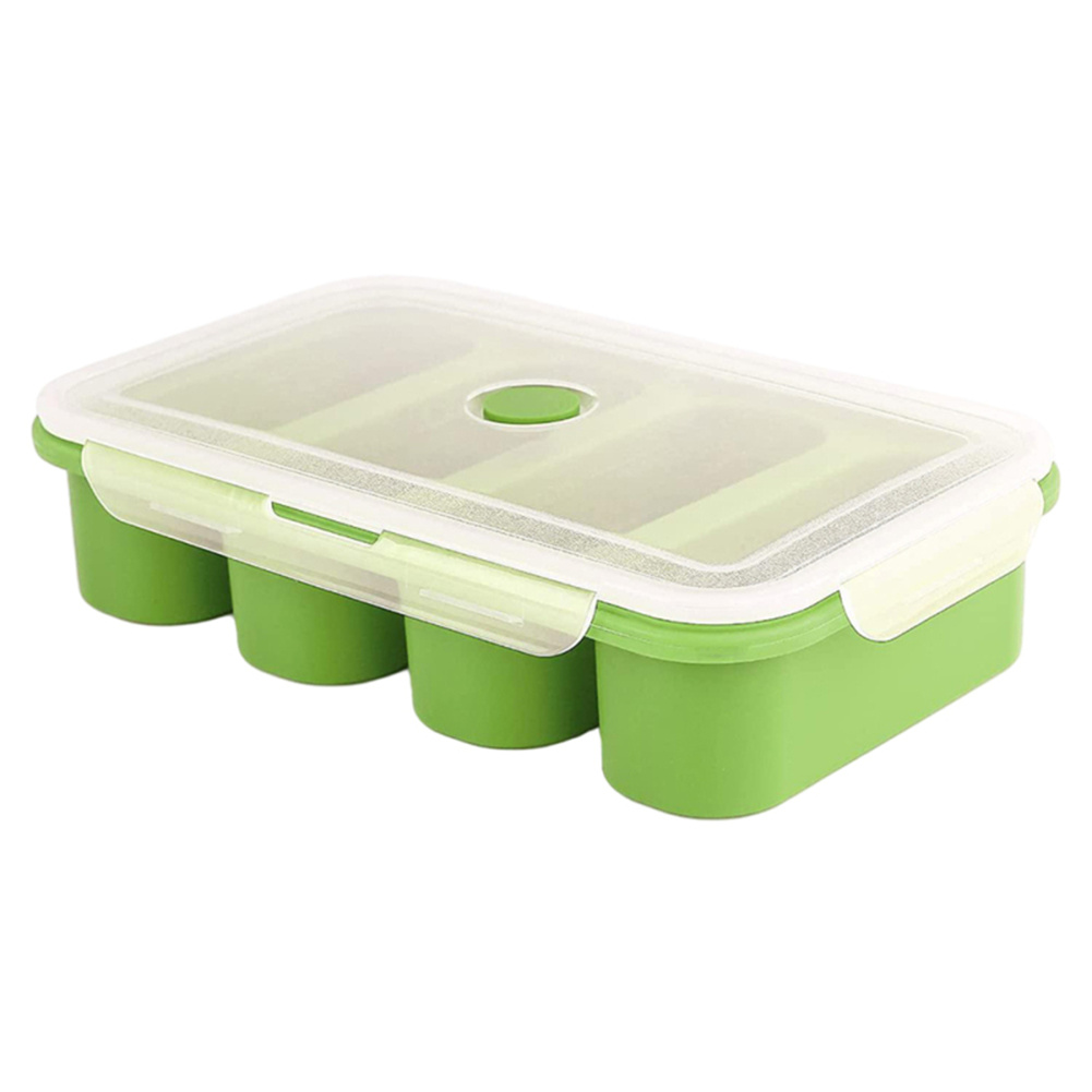 Silicone  Freezer  Tray Soup 4 Cubes Food Freezing Container Molds With Lid Frozen Packaging Box green_4 cells