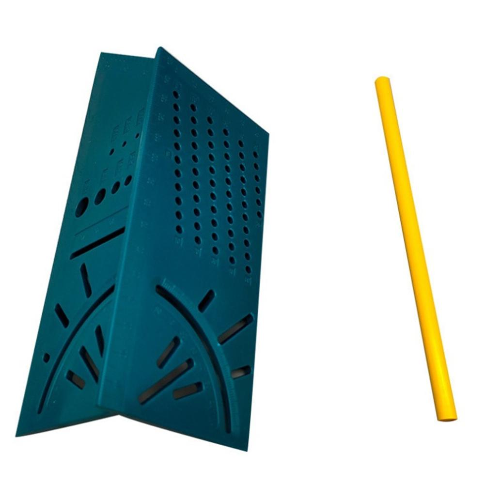 Wood Working Ruler Angle Measuring Gauge Square Size Measure Tool Pen Green ruler + pen
