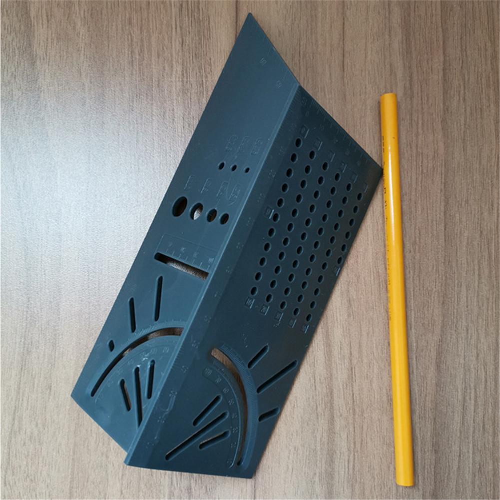 Wood Working Ruler Angle Measuring Gauge Square Size Measure Tool Pen Gray ruler + pen