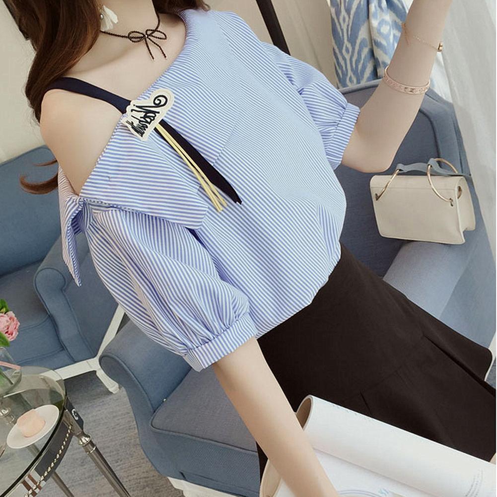 Women All Match Striped Printing Single Shoulder Short Sleeve T-shirt  blue_S