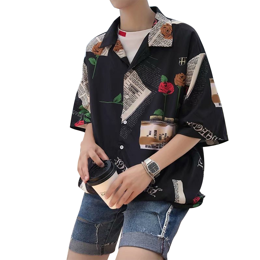 Men Casual Shirts Floral Painting Lapel Collar Elbow Sleeve Loose Tops  C11 rose black_L