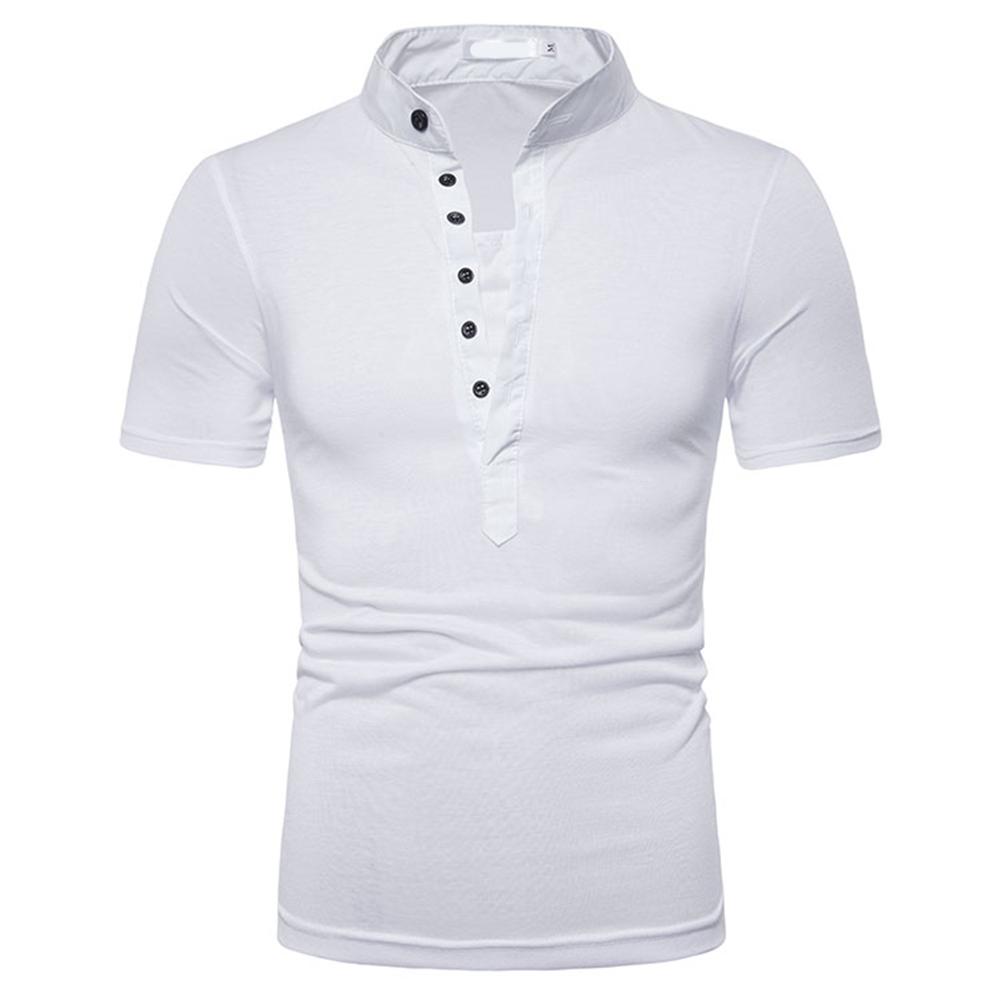 Fashion Men Slim Fit V Neck Short Sleeve Muscle Tee T-shirt  white_M