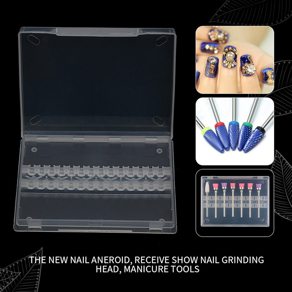 Storage Box Plastic Display For Nail Drill Bit Files Acrylic Clear Holder Electric Machine Burrs Manicure Accessory Transparent color
