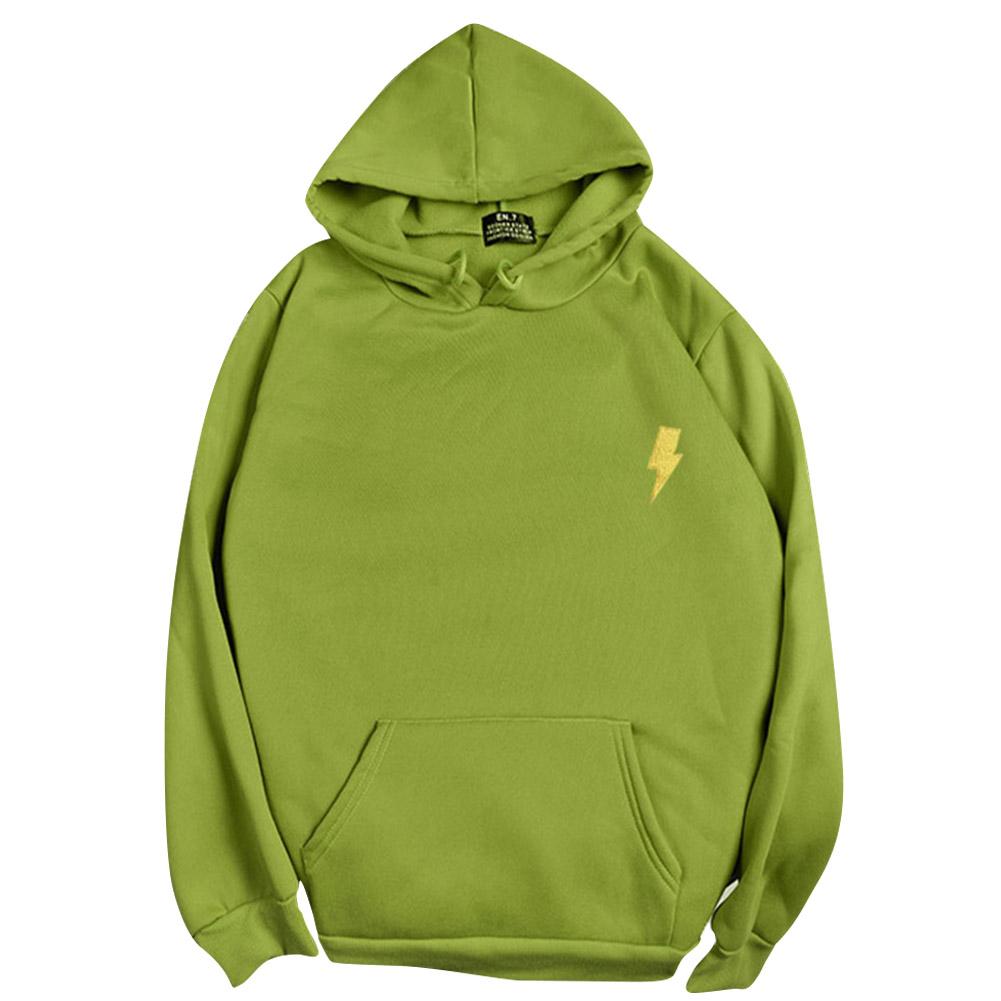 Men Women Hoodie Sweatshirt Thicken Velvet Loose Flash Autumn Winter Pullover Tops Green_XL