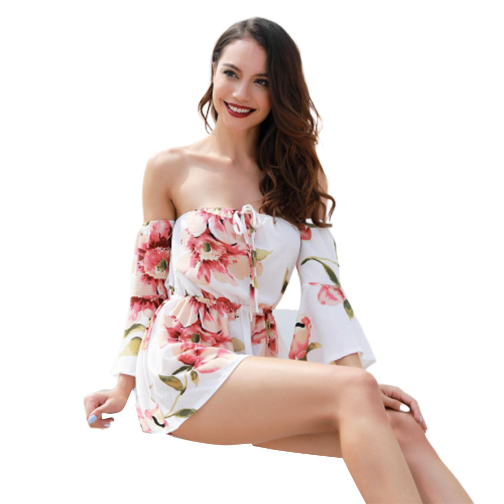 Women Sexy Jumpsuits Off-shoulder Madarin Sleeves Pants Printing Jumpsuit  white_L
