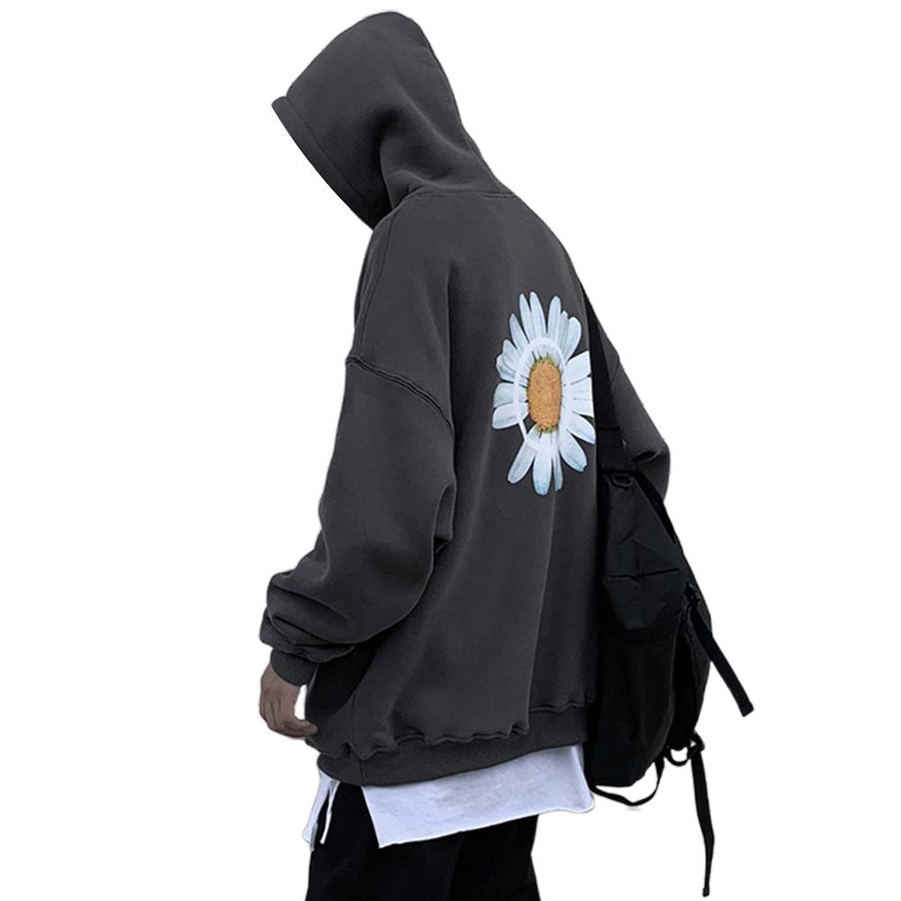 Men Women Hoodie Sweatshirt Chrysanthemum Printing Simple Unisex Pullover Tops Dark gray_M