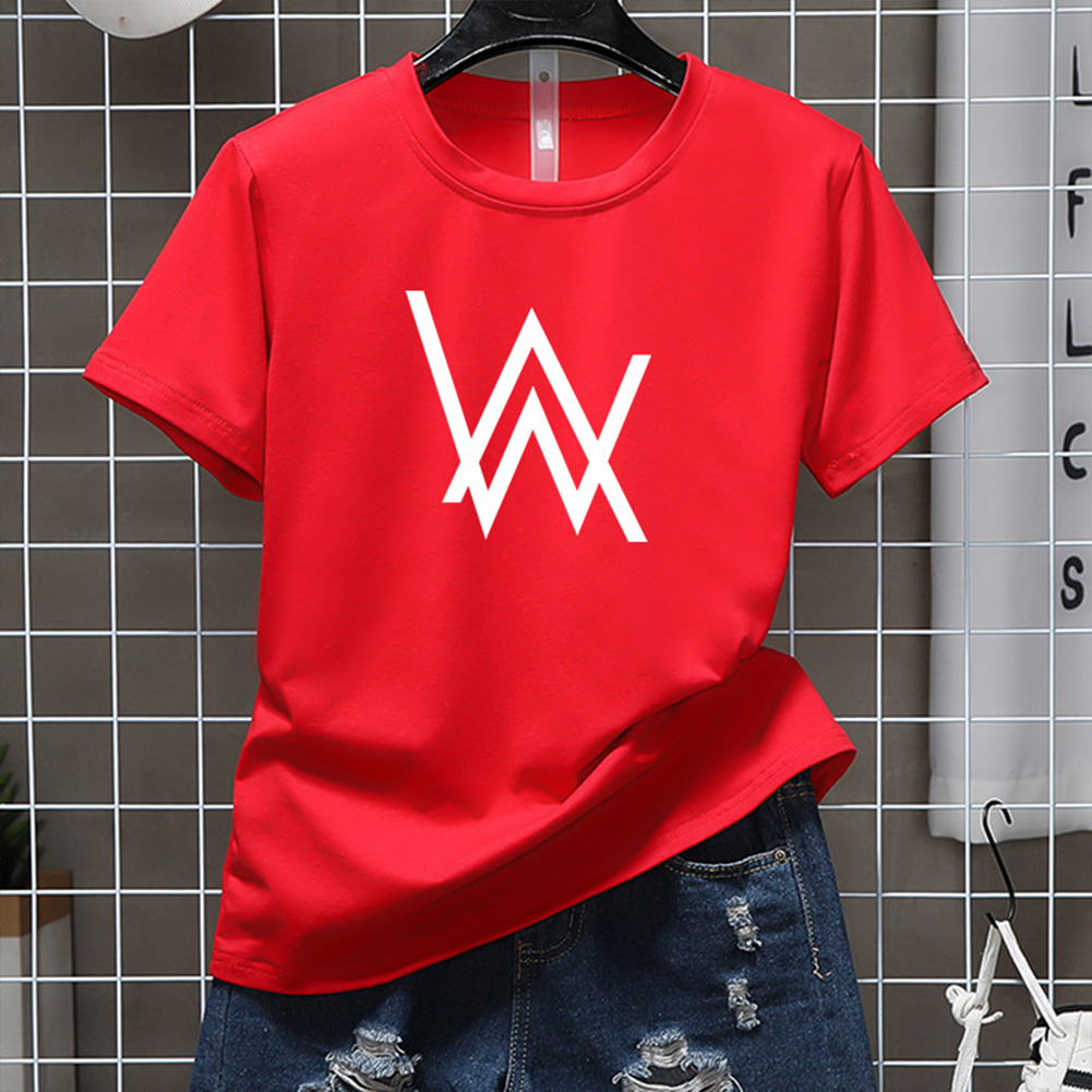 Men Women Couple Fashion Letter Printing Round Neck Short Sleeve T-Shirt  red_L