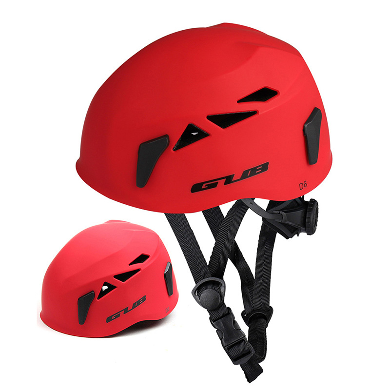 GUB Outdoor Downhill Extension Cave Rescue Mountaineering Upstream Helmet Safety Hat Climbing Equipment Matte red_L