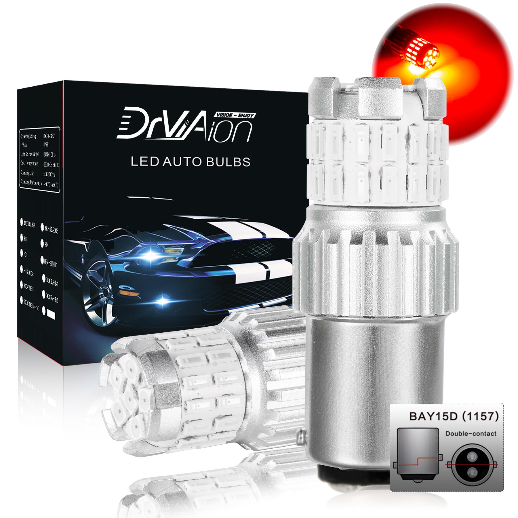 2pcs Fast Heat Disspation Aluminum LED Bulb for Drviaion 1156/1157Canbus Light Red light_1157 bay15d p21-5w